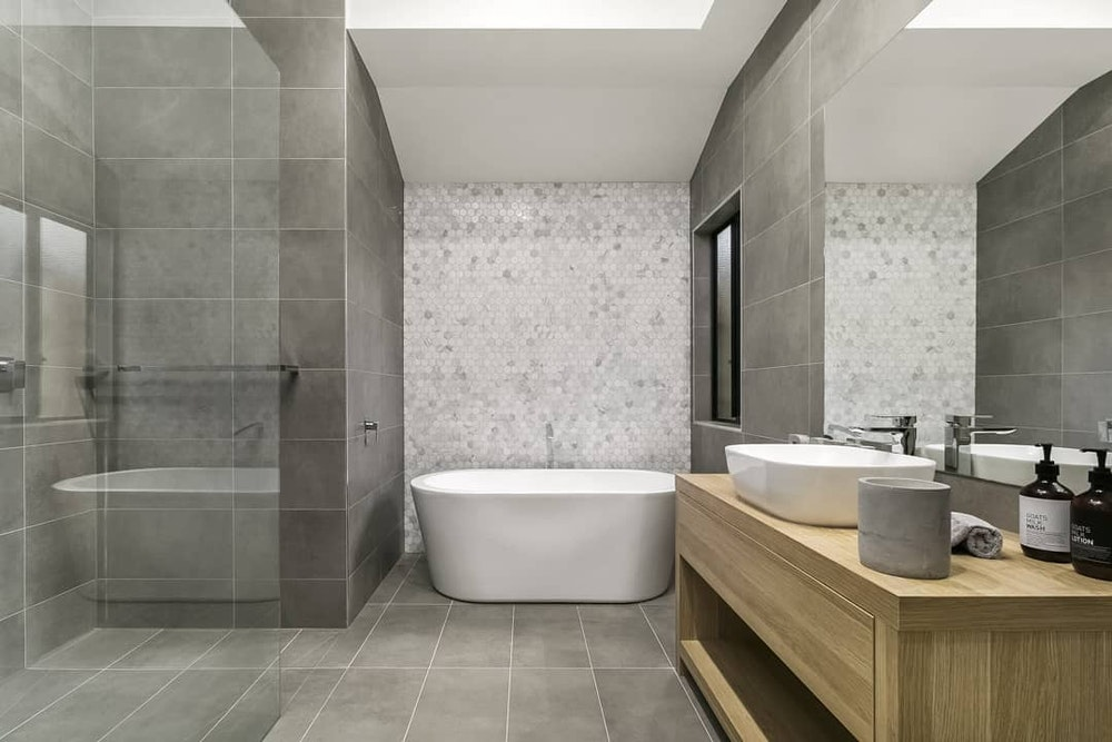 Textured Bathroom   Bentons via House of Home